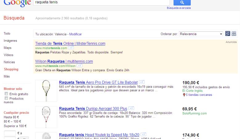 resultados google shopping